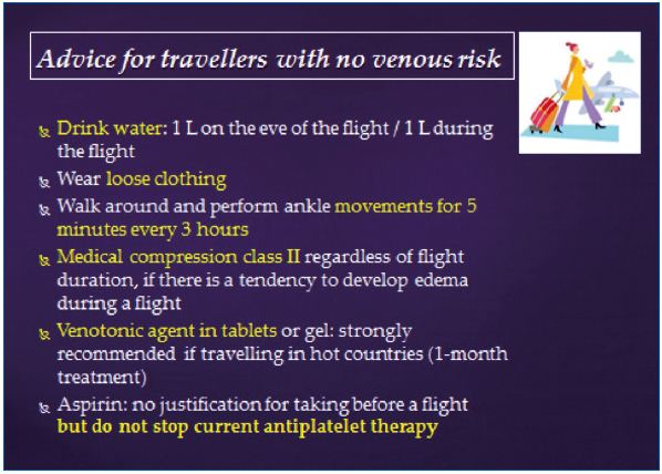 Figure 4. Advice for travellers with no venous risk. Prepared by the French Society of Angiology.